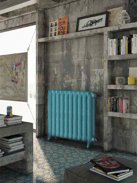 deco radiator, radiatorji iz litega železa, retro radiatorji, modri radiatorji