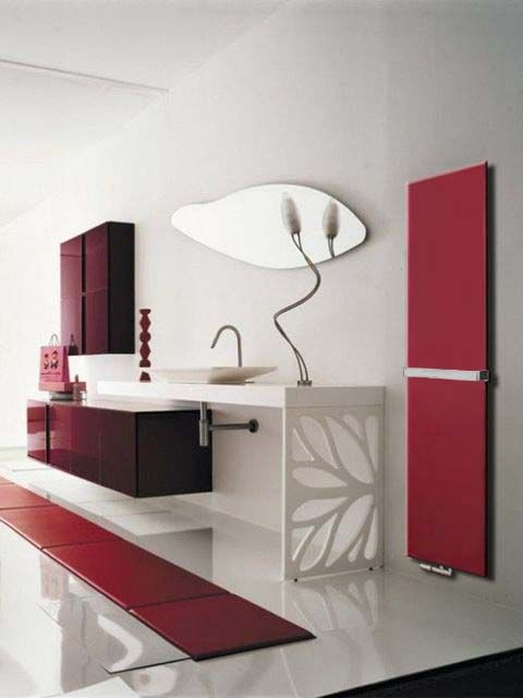 flat bathroom radiator, panel bathroom radiators, coloured radiator, red bathroom radiator