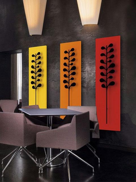 vertikalūs radiatoriai, aliuminio radiatoriai, neįprasti radiatoriai, oranžiniai radiatoriai