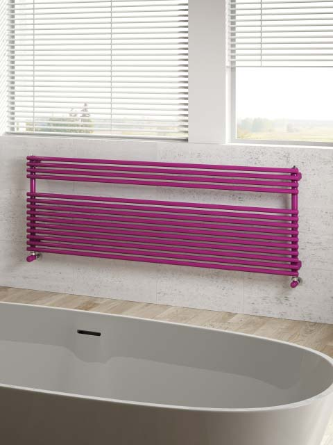 horizontal radiator, bathroom radiators, purple towel radiators, coloured radiator,