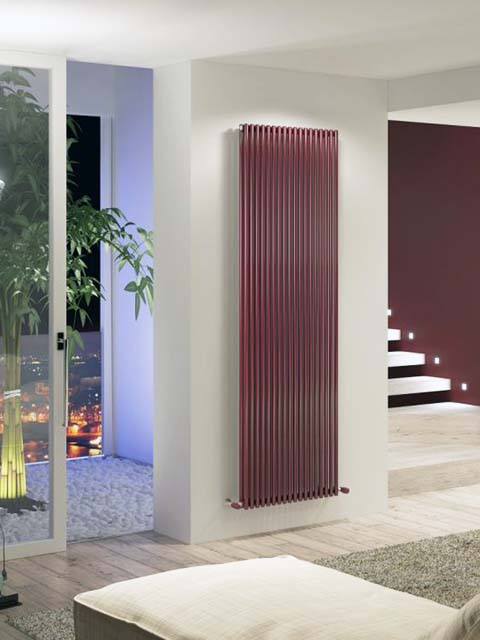 vetical radiators, design radiators, coloured radiators, claret vertical radiators, upright radiators