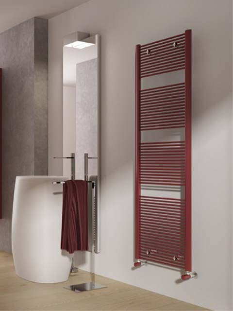 stylish radiator, coloured radiator, red towel radiators, radiator styles