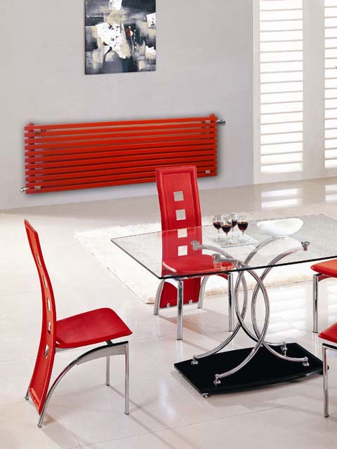 red radiators, kitchen radiators, long radiators