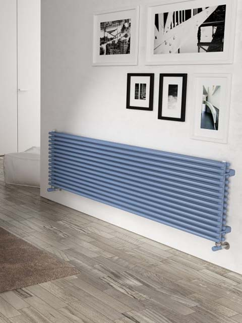 blue horizontal radiators, living room radiator, horizontal radiators, coloured radiators