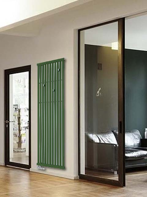 hallway radiators, tubular radiators, green radiators, design radiator