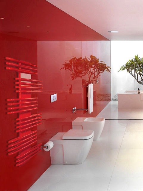 modern towel radiator, coloued towel radiator, red bathroom radiators, towel radiators