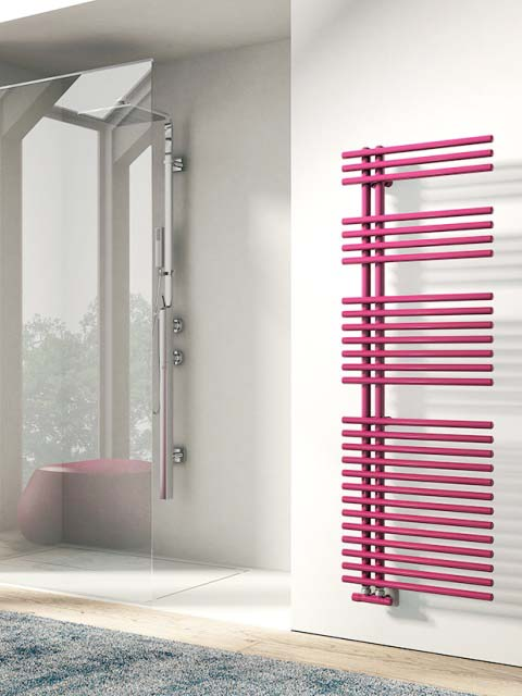 bathroom radiators, modern towel radiators, electric towel radiators, pink towel radiators