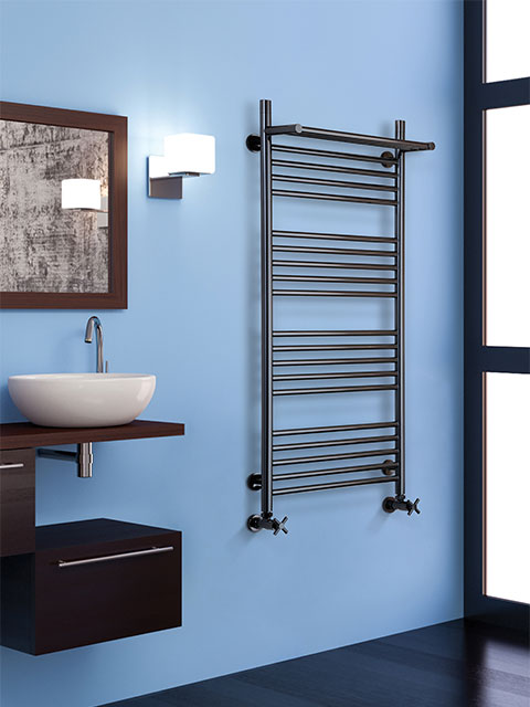 stainless steel radiator, bathroom radiator, Inox radiators, radiator with shelf, black chrome