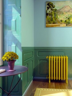 coloured radiator, cast iron radiators, vintage radiators, yellow radiators
