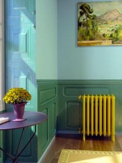 кольоровий радіатор, чавунні радіатори, старовинні радіатори, жовті радіатори