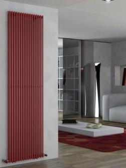 radiadores de calefacción central, radiadores altos, radiadores rojos, radiadores verticales