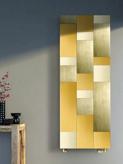 gold radiators, vertical radiators, design radiators, living room radiators