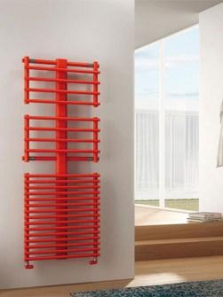 nieuwe radiatoren, badkamerradiatoren, gekleurde radiator, rode radiator