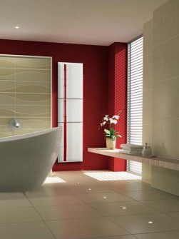 red bathroom radiator, stone radiator, exclusive radiator, luxury bathroom radiator