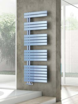 bathroom radiators, asymmetric radiators, towel radiator, blue towel rails
