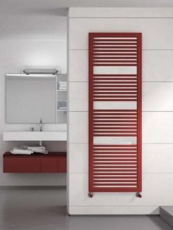 coole radiator, moderne radiatoren, badkamerradiator, rode verwarmde handdoekrails, gekleurde badkamerradiatoren