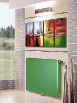 zelené radiátory, radiátory s plochými panelmi, dizajnové radiátory
