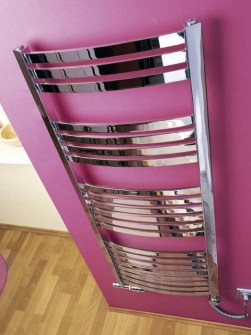 chrome towel radiator, chrome radiators, bathroom radiators chrome, silver towel warmers