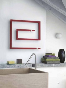 contemporary towel radiator, claret towel radiators, snail shape radiators, red radiators
