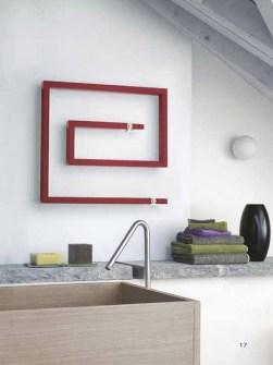 moderný radiátor s uterákmi, radiátory s kriedovým uterákom, sálavé radiátory, červené radiátory