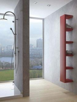 radiatorius su lentynomis, unikalūs radiatoriai, neįprasti radiatoriai, vonios radiatoriai, raudoni radiatoriai