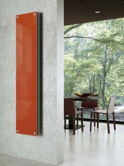 sklenené radiátory, luxusné radiátory, oranžové radiátory, pekné radiátory