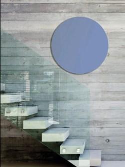 elektrinis radiatorius, veidrodinis priekinis radiatorius, šiuolaikinis radiatorius, šviesiai mėlyni radiatoriai