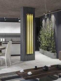 chladič ústředního topení, moderní chladič, obývací pokoj s radiátory, unikátní radiátory