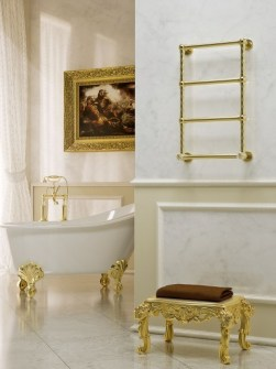 traditional towel radiators, heated towel radiators, gold heated towel rails,