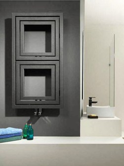 modern radiator, designer bathroom radiator, grey bathroom radiators, square shape radiator