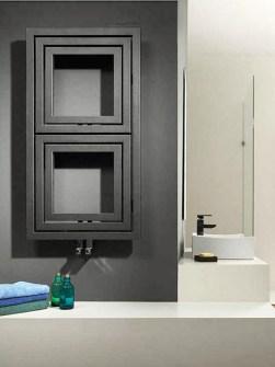 moderný radiátor, dizajnér kúpeľňového radiátora, šedé kúpeľňové radiátory, štvorcový radiátor