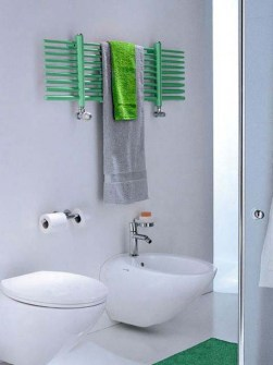 dual fuel towel rails, green towel warmer, horizontal radiator, bathroom radiator,