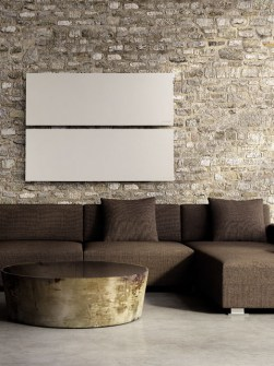 smooth horizontal radiators, flat radiators, living room radiators, stylish stone radiators,