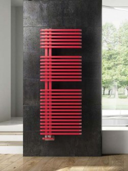 modern bathroom radiators, asymmetric radiators, red bathroom radiators, minimal radiator