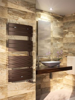 bathroom radiators, asymmetrical radiators, modern bathroom radiators, brown towel radiators