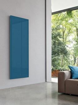 vertikální ploché radiátory, luxusní radiátor, modré radiátory