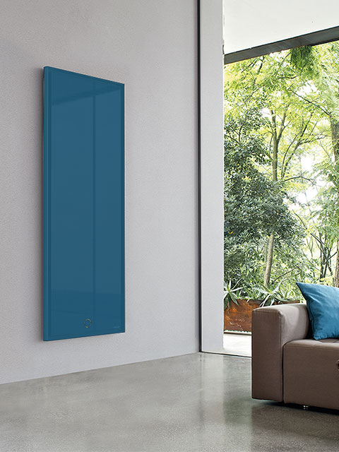 vertical flat radiators, luxury radiator, blue radiators